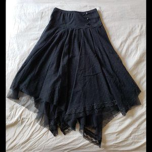 Urban Outfitters Lux Black Biased Cut Midi Skirt